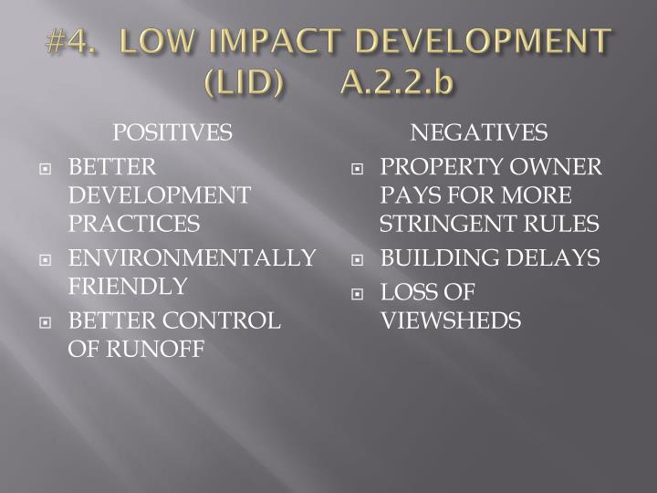 #4.  LOW IMPACT DEVELOPMENT (LID)     A.2.2.b
