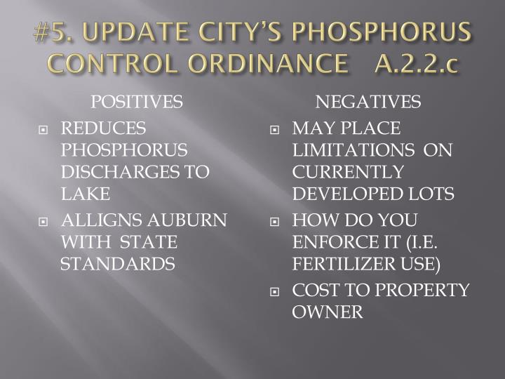 #5. UPDATE CITY'S PHOSPHORUS CONTROL ORDINANCE   A.2.2.c