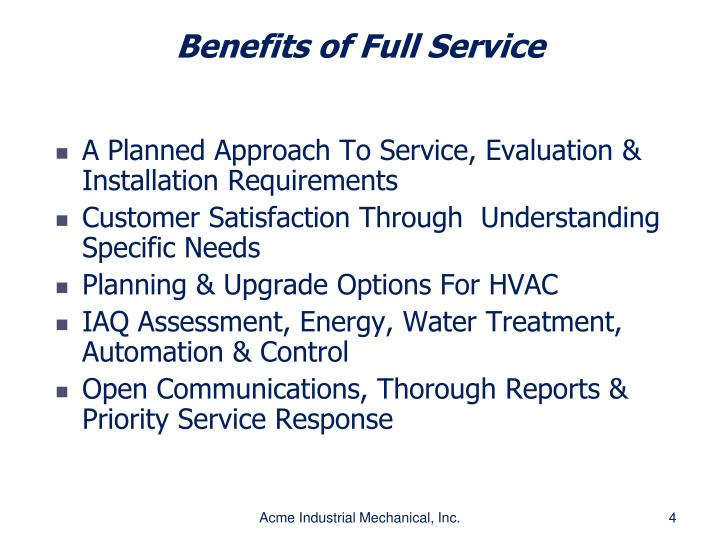 Benefits of Full Service