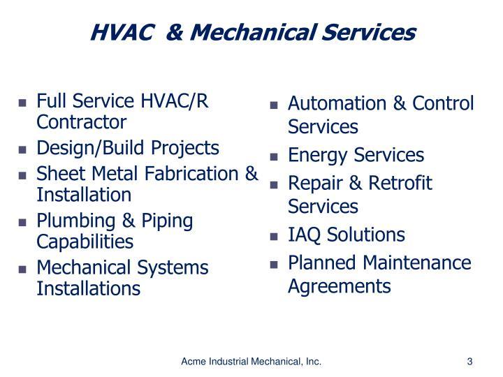 Full Service HVAC/R Contractor
