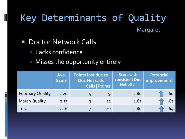 Key Determinants of Quality