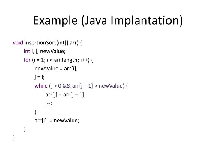 Example (Java Implantation)