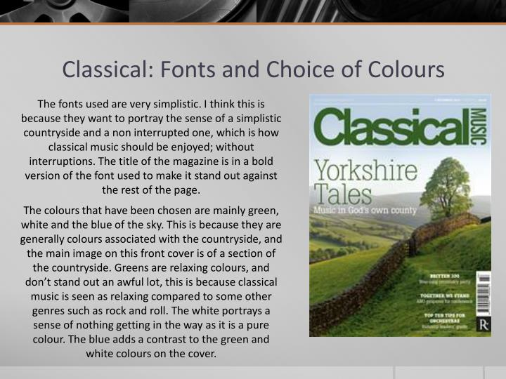 Classical: Fonts and Choice of Colours