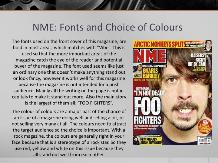 NME: Fonts and Choice of Colours