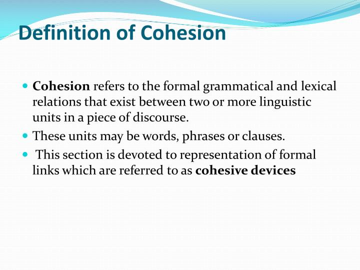 Definition of Cohesion