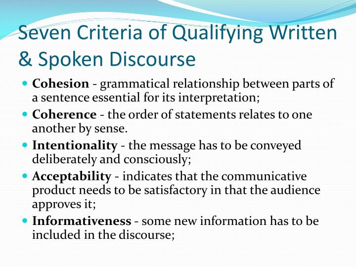 Seven Criteria of Qualifying