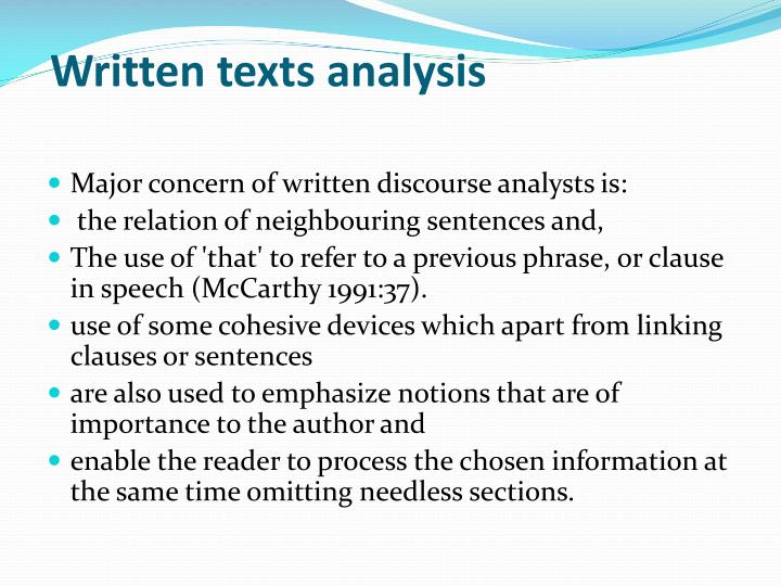 Written texts analysis