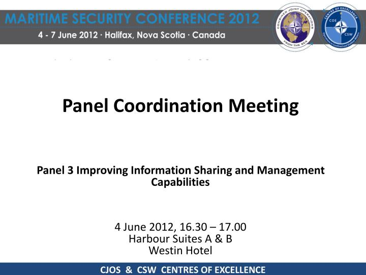 Panel Coordination Meeting