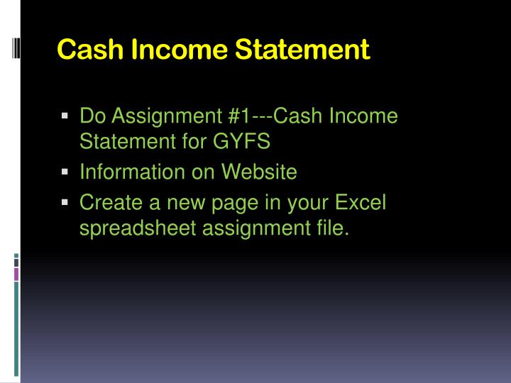 Cash Income Statement