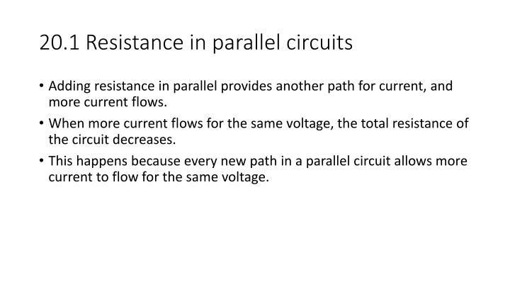 20.1 Resistance in parallel circuits