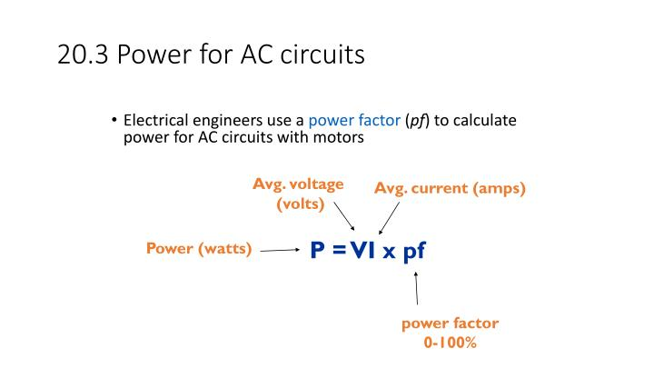 20.3 Power for AC circuits