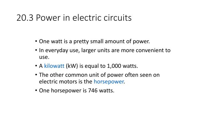 20.3 Power in electric circuits