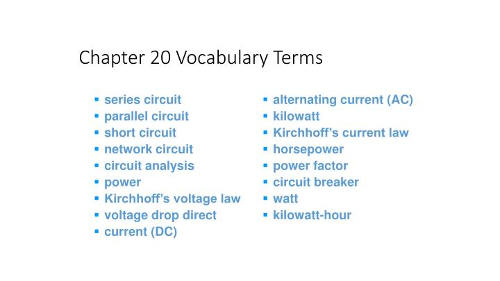 Chapter 20 Vocabulary Terms