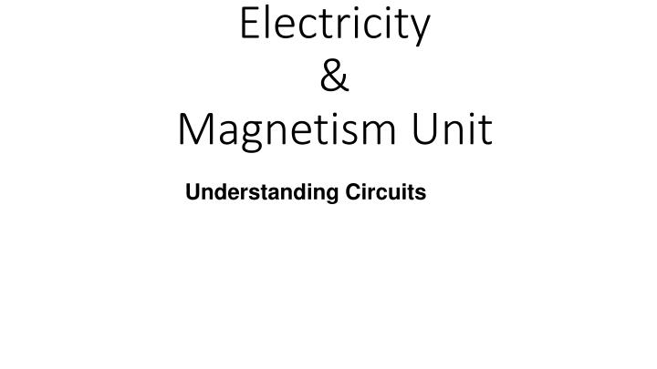Electricity magnetism unit