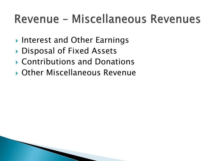 Revenue – Miscellaneous Revenues