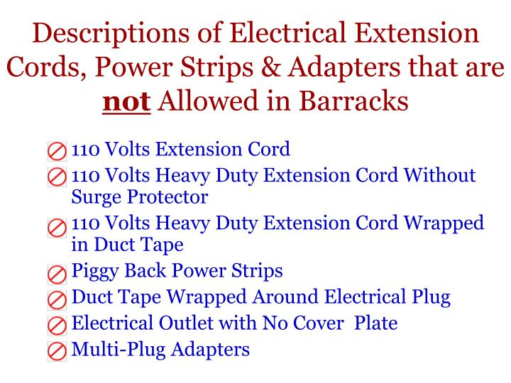 Descriptions of Electrical Extension Cords, Power Strips & Adapters that are