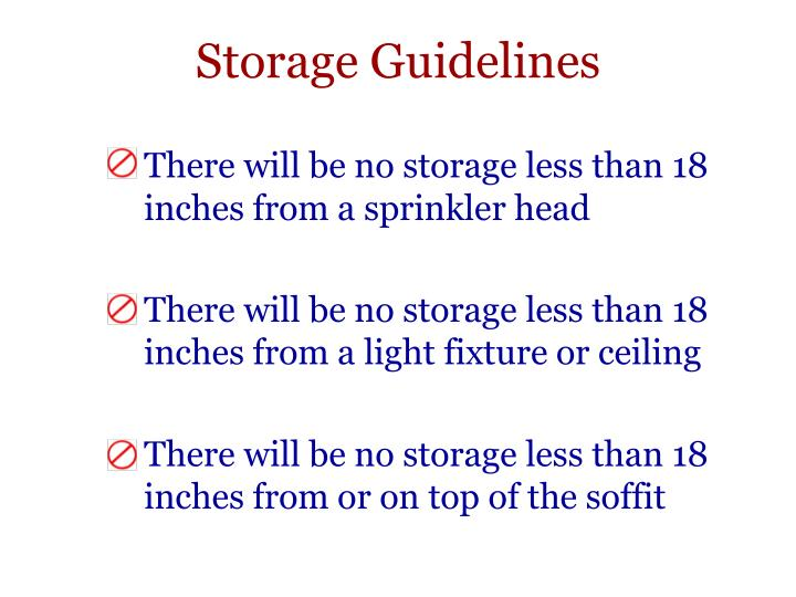 Storage Guidelines