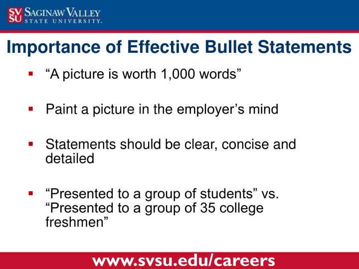 Importance of Effective Bullet Statements