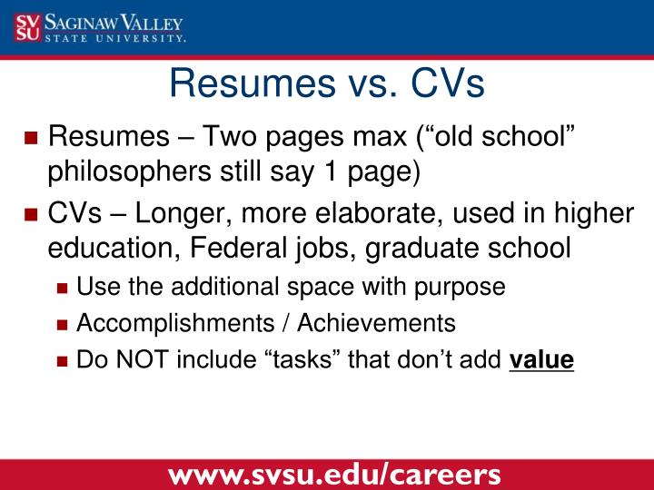 Resumes vs. CVs