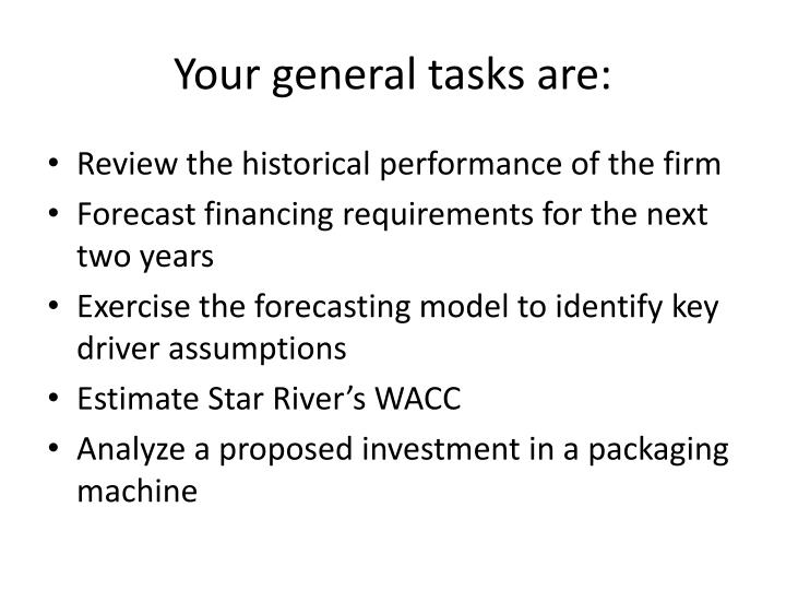 Your general tasks are: