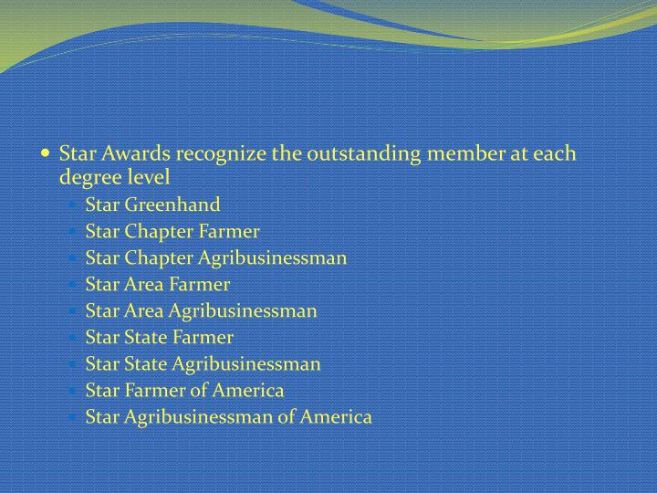 Star Awards recognize the outstanding member at each degree level