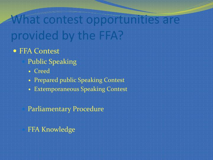 What contest opportunities are provided by the FFA?
