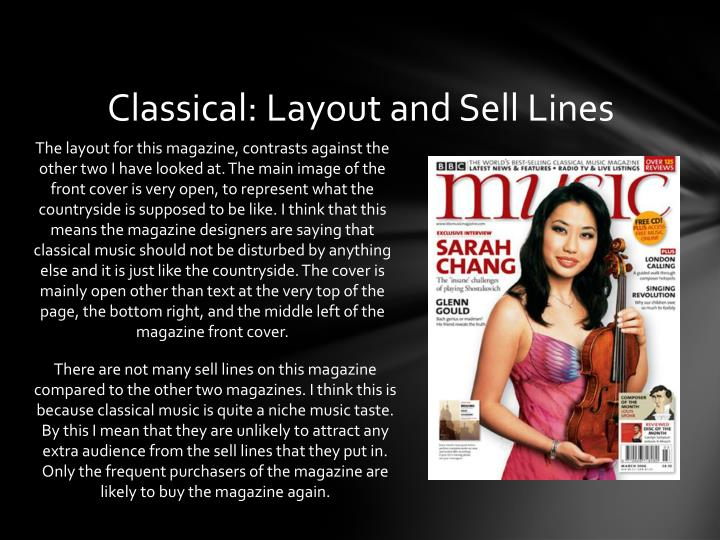 Classical: Layout and Sell Lines
