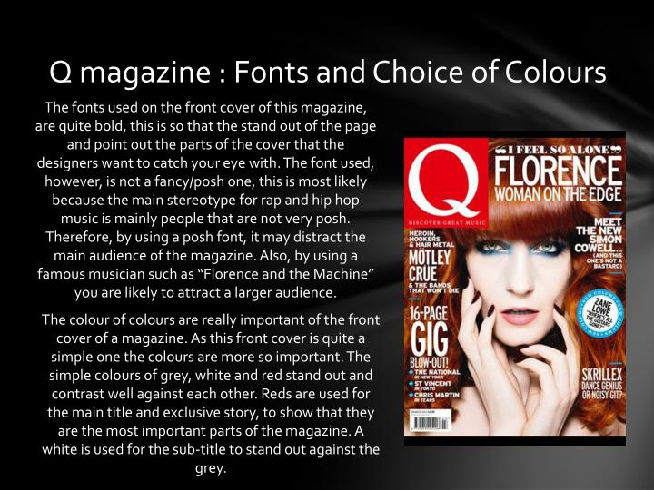 Q magazine fonts and choice of colours