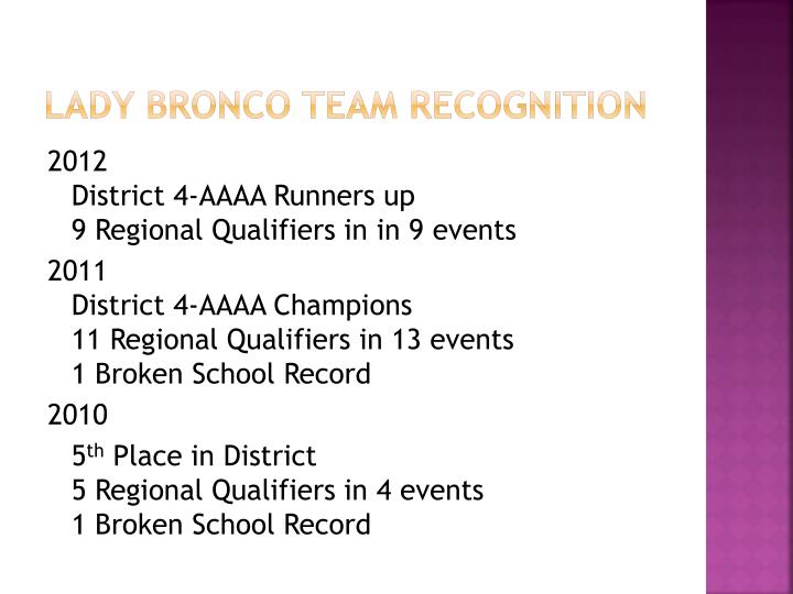 Lady Bronco Team Recognition