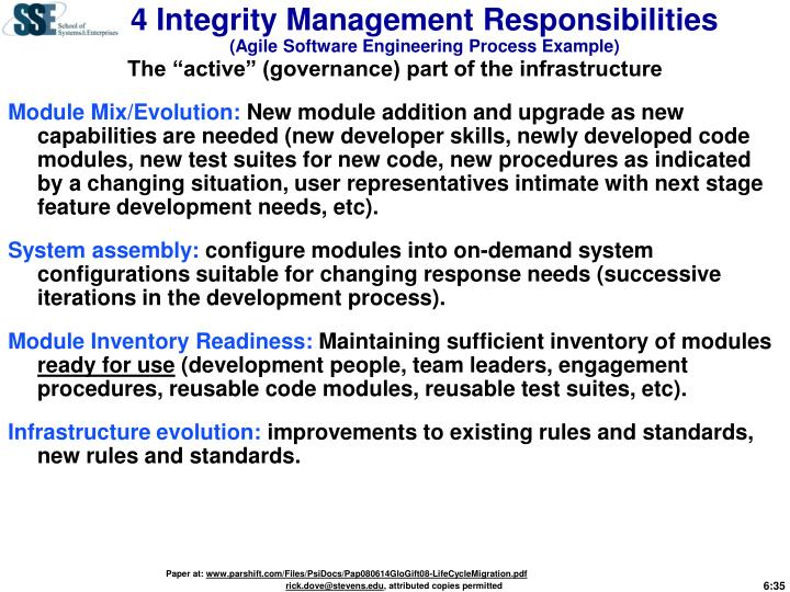 4 Integrity Management Responsibilities