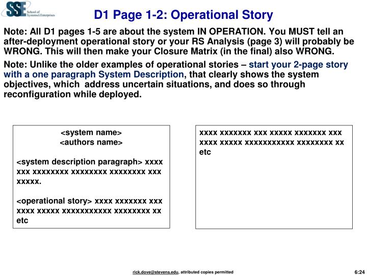D1 Page 1-2: Operational Story