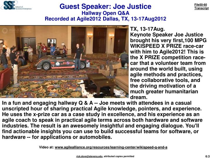 Guest speaker joe justice hallway open q a recorded at agile2012 dallas tx 13 17aug2012