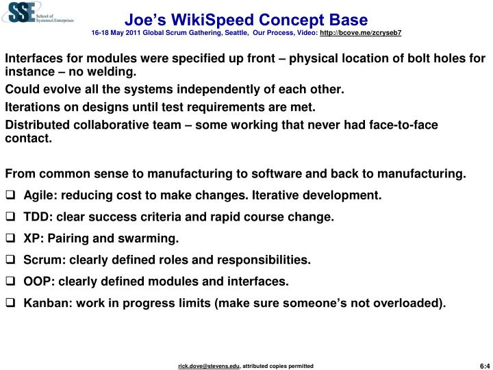 Joe's WikiSpeed Concept Base