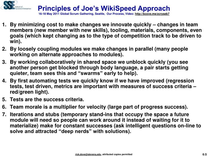 Principles of Joe's WikiSpeed Approach