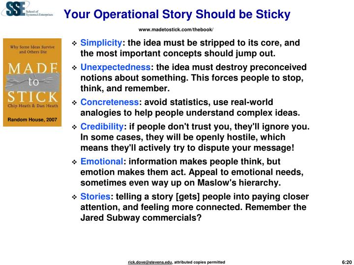 Your Operational Story Should be Sticky