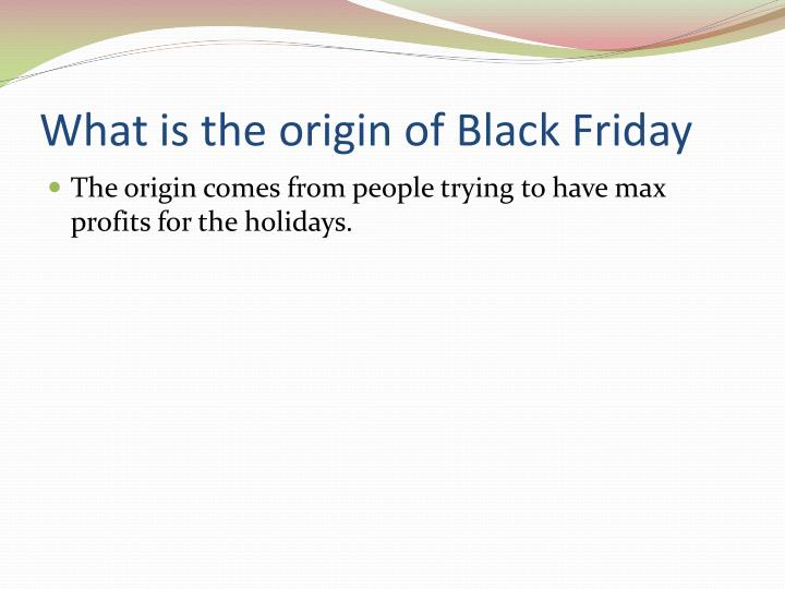 What is the origin of Black Friday