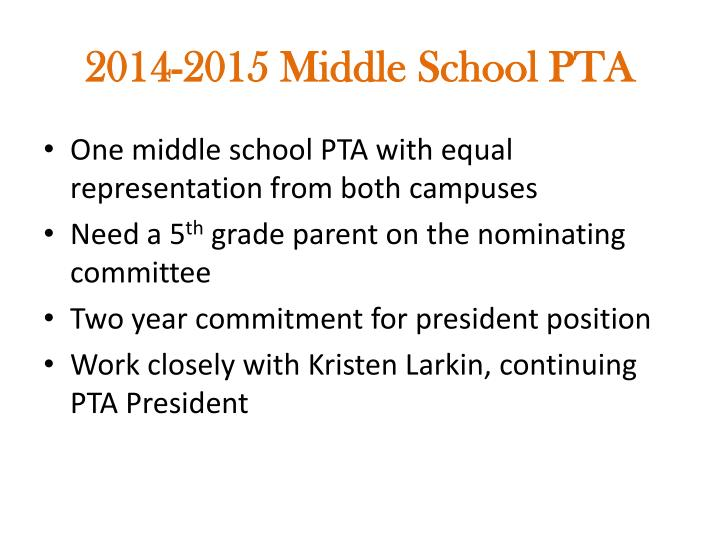 2014-2015 Middle School PTA