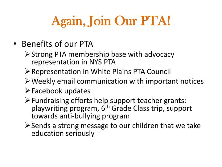 Again, Join Our PTA!