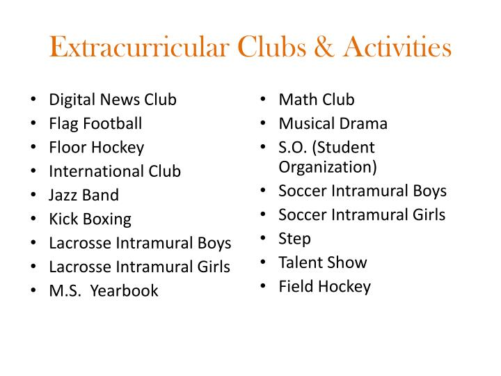 Extracurricular Clubs & Activities