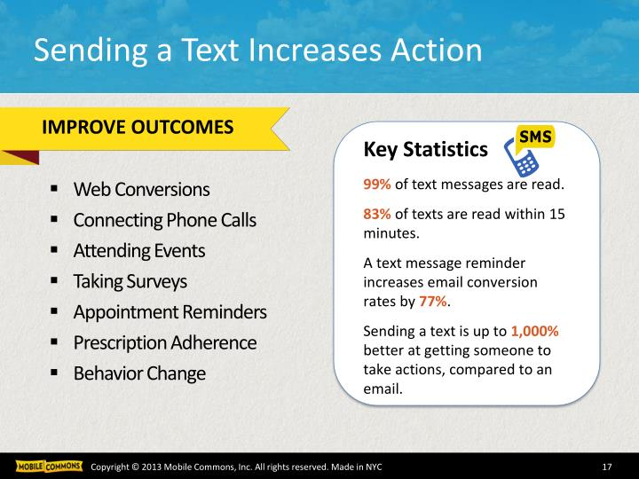 Sending a Text Increases Action