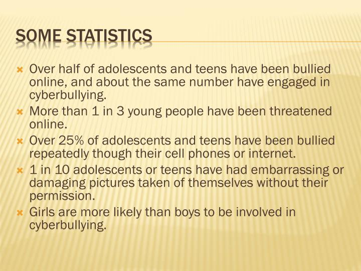 Over half of adolescents and teens have been bullied online, and about the same number have engaged in cyberbullying.