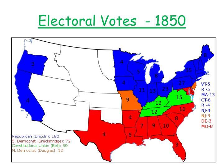 Electoral Votes  - 1850