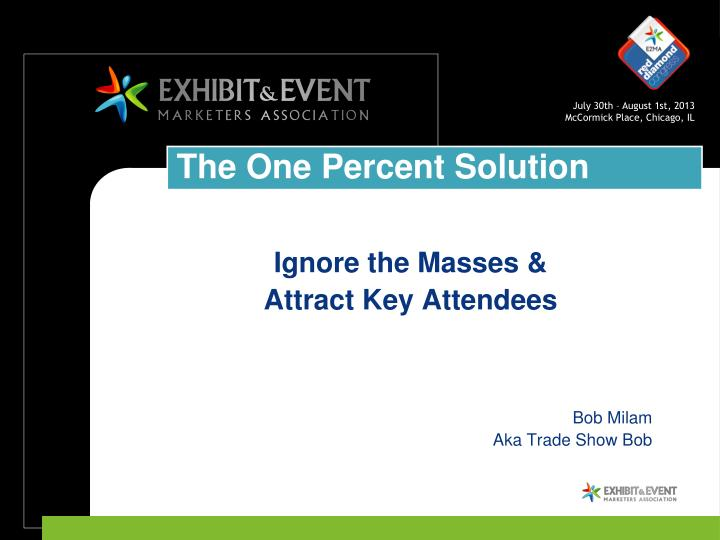 Ignore the masses attract key attendees bob milam aka trade show bob