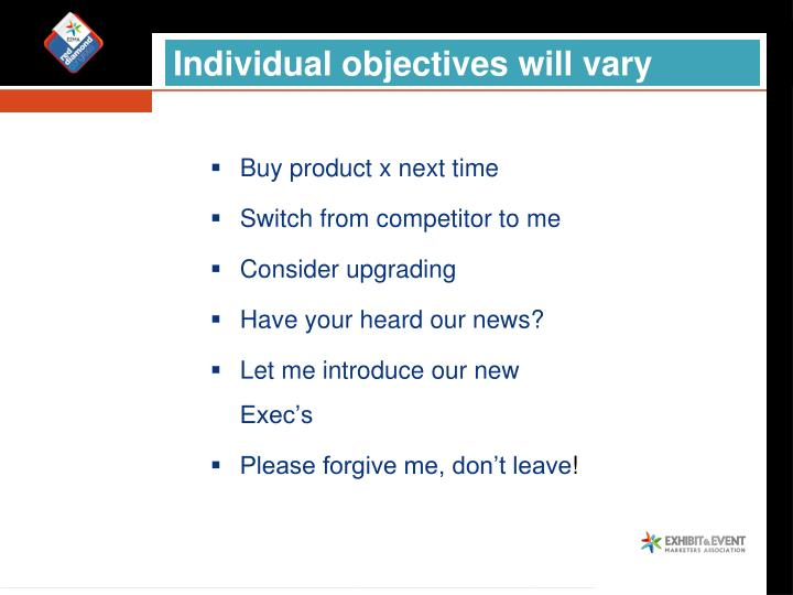 Individual objectives will vary