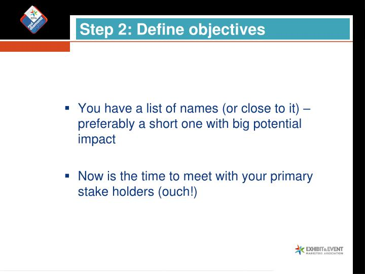 Step 2: Define objectives