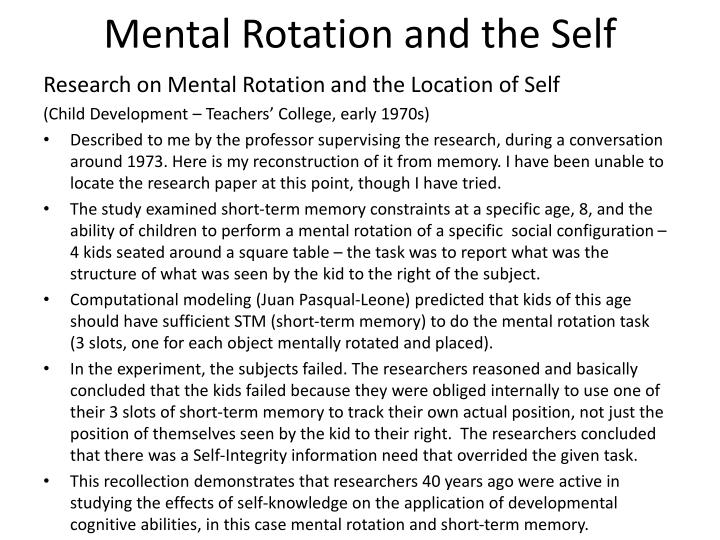 Mental Rotation and the Self