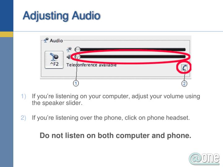 Adjusting audio