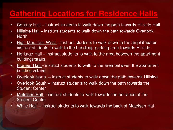 Gathering Locations for Residence Halls