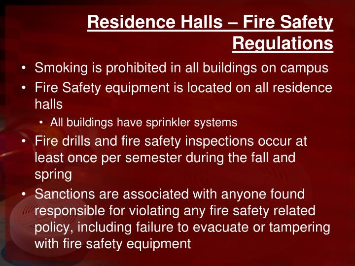 Residence Halls – Fire Safety Regulations
