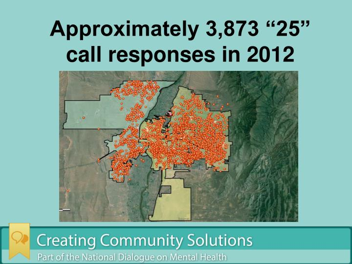 "Approximately 3,873 ""25"" call responses in 2012"